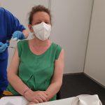 Valeria being vaccinated